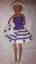 Puppenkleidung passend für Barbiepuppe Kleid,Tasche + Hut 6289 Handarbeit