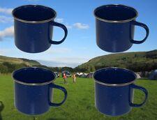 4 x ENAMEL CAMPING MUG SET BLUE HEATPROOF PICNIC DRINKING TEA CUP MUGS SET RY380