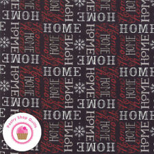 Moda HOLIDAY LODGE 19894 12 Black Text Home DEB STRAIN Quilt Fabric CHRISTMAS