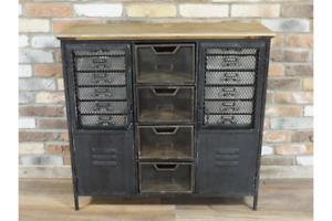 Industrial Storage Cabinet Metal & Wood Drawer / Cupboard Storage