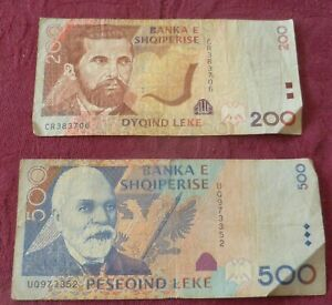 TWO (2) LEKE BANKNOTES FROM ALBANIA / 200 & 500 LEKE NOTES