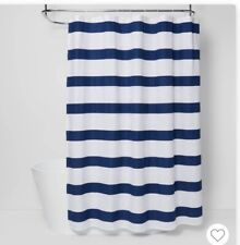 "Fabric Shower Curtain: Nautical Stripe Design Navy and White 70"" W x 72"" L"