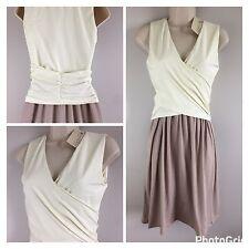 Synergy Organic Mock Wrap Dress Two Tone Taupe Ivory Small NWT
