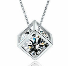 "Women's Fashion Sterling Silver Cube with White Zircon gem Necklace 17.5"" Chain"