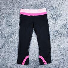 Lululemon Run Inspire Crops Womens Black Pink Sz 4