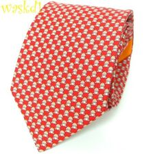 SALVATORE FERRAGAMO red FROG PRINCE in orange Crown silk MENS tie NWT Authentic!
