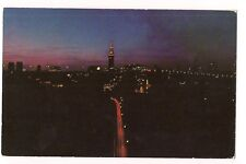 NIGHT Bird's Eye View Scene TERMINAL AREA in Heart of CLEVELAND Ohio Postcard OH