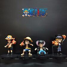 4pcs One Piece Luffy Ace Sabo Trafalgar Law 6cm -7cm PVC Figure Loose