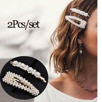 2Pcs Pearl Hair Clip Snap Barrette Stick Hair Pin Hair Accessories Prom Bridal