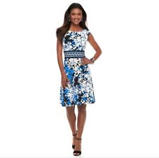 London Times Women Cap Sleeve Printed Fit and Flare Dress