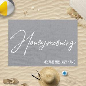 "58x39"" Personalised Grey Honeymooning Mr And Mrs Microfibre Beach Towel Gift"