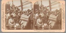 Stereoview of Presidential Party Visiting the Congress Gold Mine in Arizona 1901