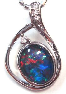 Australia Opal Natural Black Triplet Opal Pendant Solid 925 Silver Mother's Day