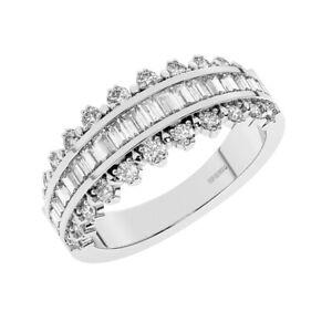 1.0 Ct Round Brilliant & Baguette Cut Diamond Half Eternity Ring in 950 Platinum