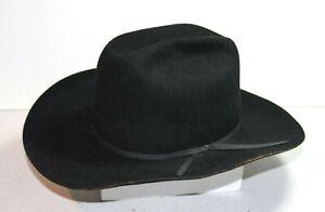 Men's JOHN B. STETSON CO. 4X Beaver Black Cowboy Western Hat 60 Size 7-1/2