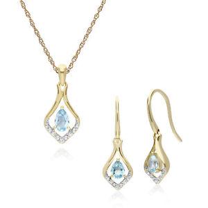 9ct Yellow Gold Blue Topaz & Diamond Leaf Drop Earring & 45cm Necklace Set