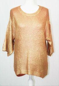 Orange & Old Gold Metallic Shine Knit Pullover Round Neck 14-16