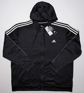 ADIDAS Men's Full Zip Tech Fleece Hoodie Jacket DT0460 Black XXL 2XL ~ New