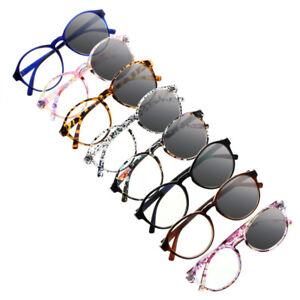 Transition Photochromic Bifocal Women Round Reading Glasses Sunglasses +1.0~+3.0