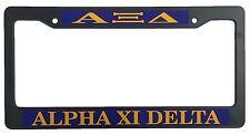 Alpha Xi Delta Black Plastic License Plate Frame