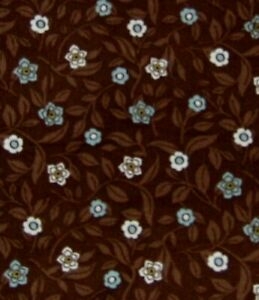 """VINTAGE Brown FLORAL small wale cotton CORDUROY 56"""" wide SOLD By the 1/2 YARD"""