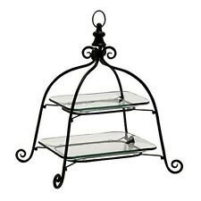 Deco 79 68554 2-Tier Metal Glass Tray 19 by 21-Inch NEW
