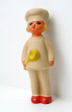 1950s Soviet Russian Vintage Russian Rubber Doll Toy Girl Cook with Spoon