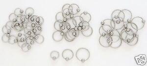 """1 Pair 2 Steel Captive Rings CBR 20g 3/8"""" Tragus Hoops Ear Nose Hood Piercing"""
