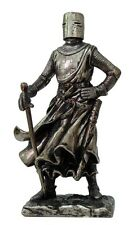 CRUSADER MEDIEVAL KNIGHT w/FULL ARMOR HELMET AND SWORD FIGURINE STATUE.CHIVALRY