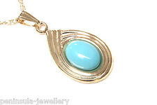 "9ct Gold Turquoise Pendant and 18"" Chain Made in UK Gift Boxed Necklace"