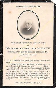 Généalogie Avis de décès Mr LAURENT MARIETTE 23 01 1913 à Saint Dié sur Loire