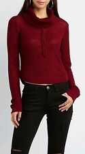 Charlotte Russe Drawstring Crop top Cowl Neck Sweater in Burgundy - Size XL- New