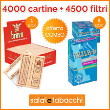 4000 cartine Bravo Rex Corte Finissime + 4500 Filtri Rizla slim 6 mm