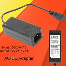Black AC 100-240V 12V 5V Adapter Power Supply Connector For HARD DISK Drive IDE