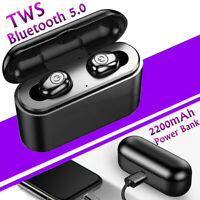 Bluetooth 5.0 Headset Wireless Mini Earbuds IPX6 Waterproof Headphone Power Bank
