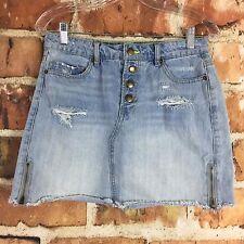 Bongo Denim Short Skirt Womens Juniors Size 7 Light Wash Distressed Ripped (A14)