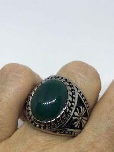 Vintage Stainless Steel Genuine Green Chrysoprase Size 12 Men's Cross Ring