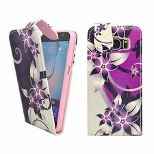 CASE FOR SAMSUNG GALAXY S6 PURPLE CREAM FLOWER FLIP PU LEATHER POUCH PHONE COVER