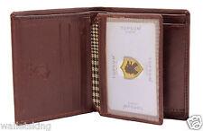 Topsum London Diseñador Hombres de Cuero Real Moneda Bolsillo Monedero Caballeros Marrón Cartera