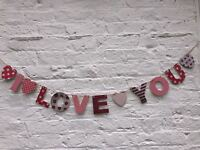 I love you Banner valentines bunting  Romantic celbration garland with hearts
