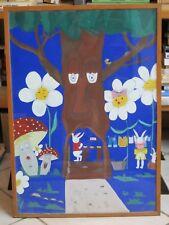 Vecchio quadro dipinto a mano ALBERO FUNGHI CONIGLI per asilo scuola materna di