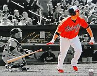 Chris Davis Autographed 16x20 B/W & Color Watching Hit Photo- JSA Authentica