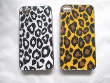 2 x IPHONE 4/4s CASE COVER LEOPARD PRINT CHROME EFFECT BLACK WHITE YELLOW PRINT