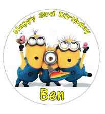 Minions Despicable Me Personalised Cake Topper Edible Wafer Paper 7.5""