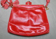 JUDITH LEIBER RED KARUNG SKIN CONVERTIBLE-FRAMED CLUTCH WITH SILK CORD STRAP