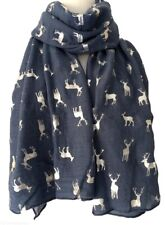 Reindeer Stag Deer Scarf Ladies Large Blue Silver Foil Stags Wrap Christmas Xmas