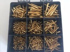 SOLID BRASS SLOTTED COUNTERSUNK WOOD SCREWS ASSORTED BOX 370 Pcs Popular Sizes