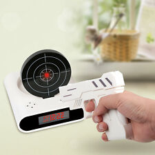 Novelty Gadget Funny LCD Gun Alarm Clock Target Panel Shooting Game Toy Gift