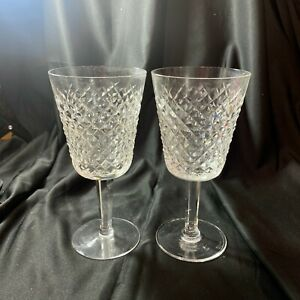 """(2) Vintage Waterford Alana Red Wine Claret Wine Glass  5 7/8"""" Gothic Stamp"""