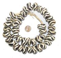 Wave Design Batik Bone Beads Large 25mm Kenya African Black and White Round